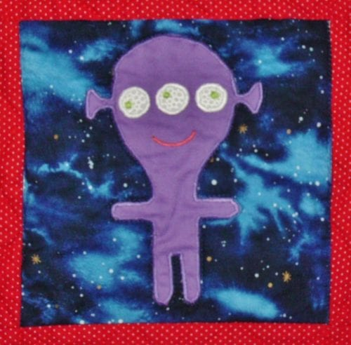 purple alien applique block