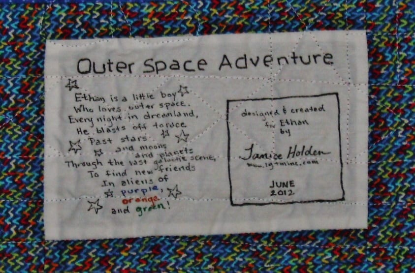 outer space theme quilt label poem